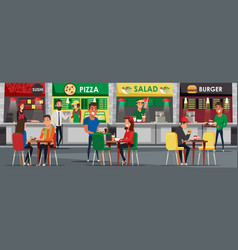 Food court cafeteria flat vector