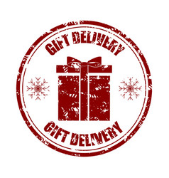 gift delivery rubber stamp to christmas holiday vector image
