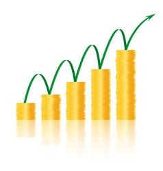 Golden coins success vector
