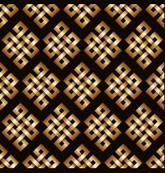 Golden endless knot background vector