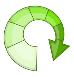 Green spiral arrow icon cartoon style vector