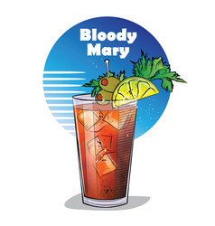 Hand drawn of cocktail bloody mary vector