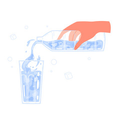 Hand pouring water from bottle into glass vector
