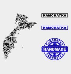 Handmade collage kamchatka map and distress vector