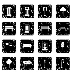 Hangar set icons grunge style vector