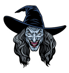 head evil lady witch vector image