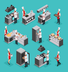 Isometric cooking process elements set vector