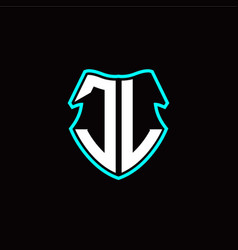 j l initial logo design with a shield shape vector image