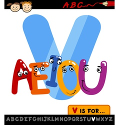 letter v with vowels cartoon vector image