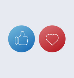 Like thumb up and heart red and vector