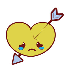 Line color crying heart with arrow kawaii vector