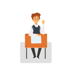 Male student sitting at desk in classroom with vector