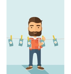 Man in money laundering business vector