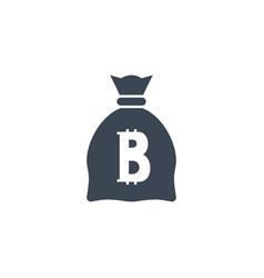 money bag with bitcoin related glyph icon vector image