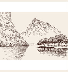 mountain river landscape hand drawn vector image