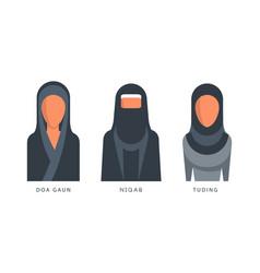Muslim female headgears set doa gaun niqab vector