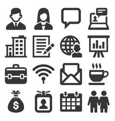office and business icons set on white background vector image