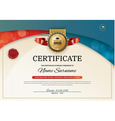 Official certificate with red turquoise wave vector