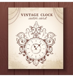 old vintage wall clock card vector image