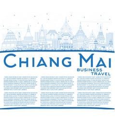 Outline chiang mai thailand city skyline with vector