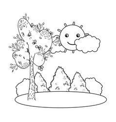 Outline tree with bushes and kawaii sun landscape vector