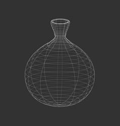 Outline white amphora on the black background vector
