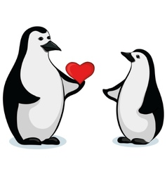 penguins with valentine heart vector image