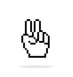 Pixel victory hand icon on white background vector image