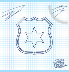 police badge line sketch icon isolated on white vector image