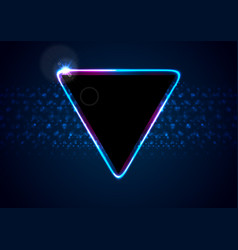 Retro neon 80s shiny triangle abstract background vector