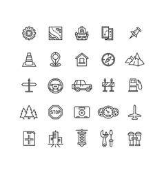 road auto line icons vector image