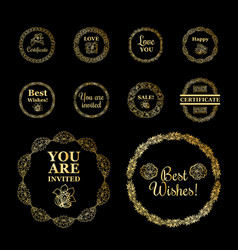 Round gold borders or frames set on the black vector