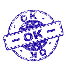 scratched textured ok stamp seal vector image