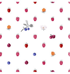 Seamless pattern with hand drawn wild berries vector