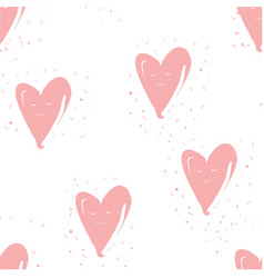 seamless pattern with hearts on white hand drawn vector image