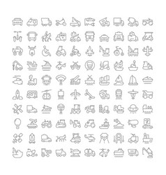 set simple icons transport vector image