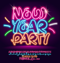shiny neon glowing poster new year party vector image