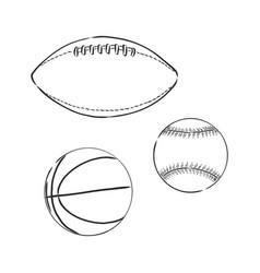 Sketch - sport balls basketball rugbaseball vector