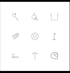 sport and recreation outline icons set vector image