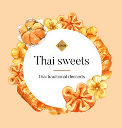 Thai sweet wreath design with sweets vector