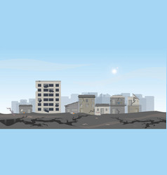 the earthquake destroyed houses and street vector image