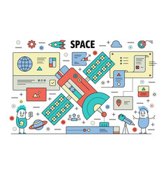 thin line space poster banner template vector image