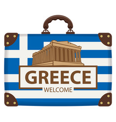 Travel suitcase with flag greece and acropolis vector