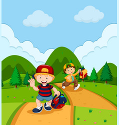 Two boys running in park vector