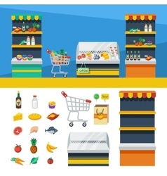 Two Horizontal Supermarket Banners vector
