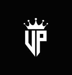 Vp logo monogram emblem style with crown shape vector