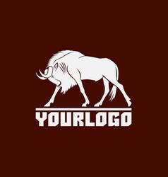 wildebeest logo sign on brown vector image