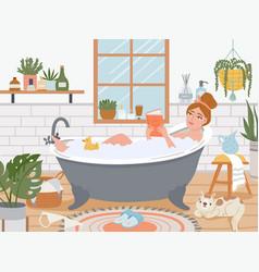 Woman in bath relaxed girl in bathtub with foam vector