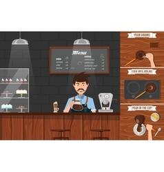 Work Of Barista Leaflet vector image