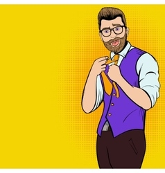 Young hipster man comics character vector
